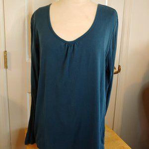 Merona   Teal Ribbed Long Sleeve T-Shirt   L